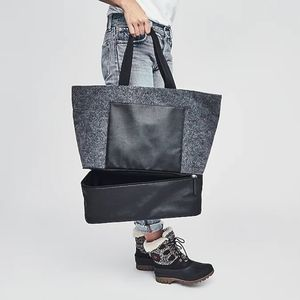 🆕WOT DSW Gray Felt Tote w/ Shoe Compartment